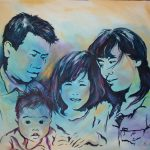 Portret Chinese familie, acryl op doek